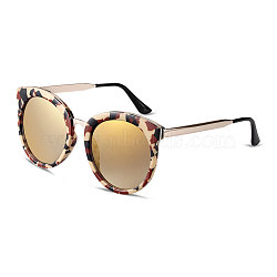Fashion Round Lens Women Sunglasses, Leopard Print Saddle Brown Plastic Frames and PC Space Lens, Gold, 5.1x14.5cm(SG-BB14391-3)