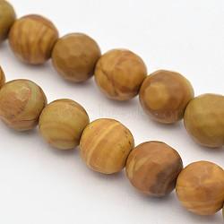 """Граненые круглые натуральные окаменевшие деревянные бусины пряди, 6 мм, Отверстие : 1 мм; около 63 шт / нитка, 15.55""""(G-E302-080-6mm)"""