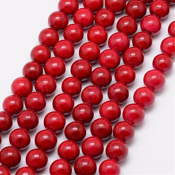 Dyed Fossil Beads, Round, Dark Red, 14mm, Hole: 1mm; about 28pcs/strand, 16 inches(G-SR14MM-FS04)