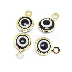 breloques au chalumeau faites main, avec les résultats en laiton, plat rond, noir, véritable plaqué or, 10x6.5x3 mm, trou: 1.5 mm(KK-F764-13G-01)