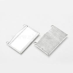 Supports pendentif rectangle cabochon de style tibétain, argent antique, sans plomb et sans cadmium, Longueur 49mm,  largeur de 31 mm, épaisseur de 3mm, trou: 2.5 plateau mm: 44x22 mm(X-LF11213Y)