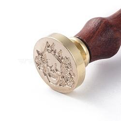 scrapbook bricolage, tampon de cire en laiton et poignées en bois, crane, or, 90 mm; timbres: 25x14.5 mm(AJEW-WH0100-073)