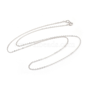 Trendy Unisex Sterling Silver Cable Chains Necklaces, with Spring Ring Clasps, Thin Chain, Platinum, 18 inches, 1mm(X-STER-M034-B-07)