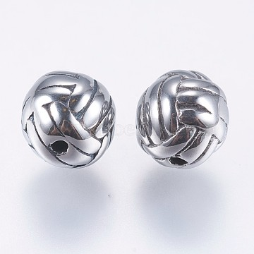 304 Stainless Steel Beads,  Volleyball, Basket Weave Pattern Beads, Antique Silver, 8mm, Hole: 1.2mm(STAS-F195-021AS)