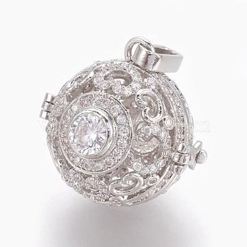 Brass Micro Pave Cubic Zirconia Prayer Box Pendants, Round, Clear, Platinum, 24x25x21mm, Hole: 8x2mm; Inner Diameter: 17mm(KK-O112-09P)