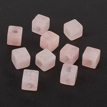 Natural Rose Quartz European Beads, Large Hole Beads, Cube, 10x10x10mm, Hole: 4.5~5mm(X-G-F580-B01)