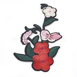 fer à repasser informatisé / coudre des patchs, accessoires de costumes, appliques, fleur avec papillon, coloré, 180x106x1.5 mm(AJEW-S069-095)