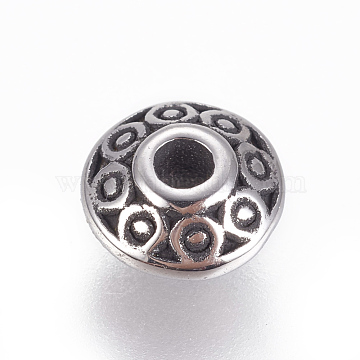 304 Stainless Steel Spacer Beads, Rondelle, Antique Silver, 6.5x3.5mm, Hole: 1.6mm(STAS-F212-072AS-A)