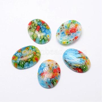 Handmade Millefiori Glass Cabochons, Oval, Mixed Color, 29x22x7mm(LAMP-G121-48)