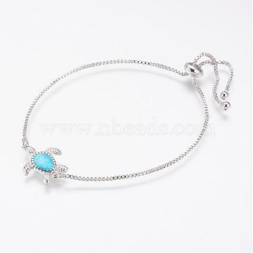 Long-Lasting Plated Adjustable Brass Slider Bracelets, Bolo Bracelets, with Synthetic Opal, Tortoise, Platinum, 237mm(BJEW-P165-13A)