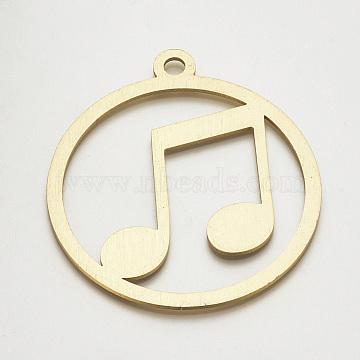 Aluminum Big Pendants, Flat Round with Musical Note, PaleGoldenrod, 89x79.5x2mm, Hole: 6.5mm(X-ALUM-S015-040)