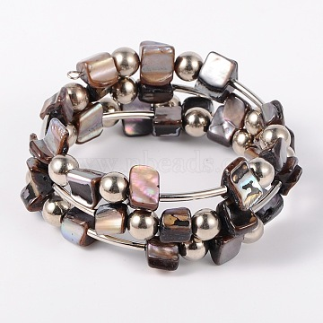 Shell Beads Wrap Bracelets, Steel Bracelet Memory Wire with Brass Tube Beads and CCB Plastic Round Beads, Platinum, Gray, 50mm(X-BJEW-JB01609-05)