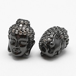 Brass Micro Pave Grade AAA Cubic Zirconia Beads, Buddha Head, Cadmium Free & Nickel Free & Lead Free, Gunmetal, 13.5x11.5x10mm, Hole: 2mm(X-KK-P055-13B-NR)
