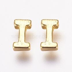 Breloques en laiton, véritable 18k plaqué or, letter.i, 6x4x2mm, Trou: 1mm(KK-P081-I)