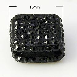 бисером горный хрусталь cmолы, класс, площадь, черный, 16x16x8 mm, отверстия: 2 mm(RESI-D011-2K)
