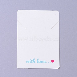 Carton de cartes d'affichage de collier, rectangle avec mot avec amour, blanc, 6.95x5x0.05 cm(CDIS-F002-05B)