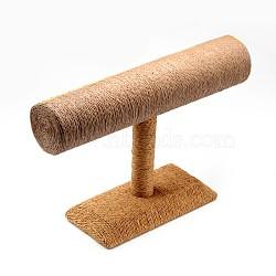 T Bar Straw Rope Bracelet/Bangle Display Stands, BurlyWood, 24x18x7.4cm(BDIS-N019-03)