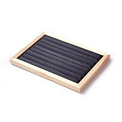 PU кожаные кольца дисплеи, с деревом, дисплей ювелирных изделий стойки, черный, 32.5x24x3.2 cm(RDIS-L004-01)