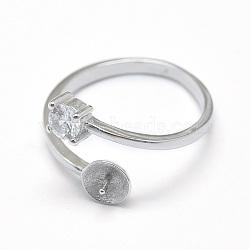 925 элементы кольца из манжеты из стерлингового серебра, за половину пробурено бисера, с кубического циркония, плоские круглые, платина, 16 мм; тары: 5.5 мм; штифт: 0.7 мм(STER-F045-11P)