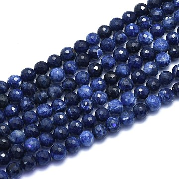 Natural Sodalite Beads Strands, Round, Faceted(128 Facets), 8mm, Hole: 1.2mm; about 49pcs/strand, 15.16 inches(38.5cm)(G-K310-A21-8mm)