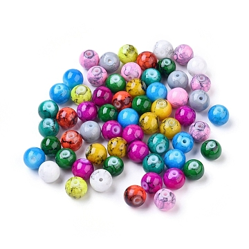 Spray Painted Glass Beads, Round, Mixed Color, 8mm, Hole: 1.3~1.6mm(X-GLAD-S075-8mm-M)