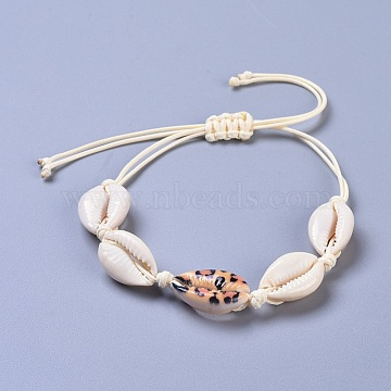 Adjustable Cowrie Shell Braided Bead Bracelets, with Eco-Friendly Korean Waxed Polyester Cord, Colorful, 13-3/8 inches(34cm)(BJEW-JB04272-02)