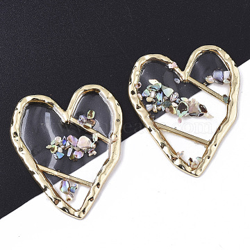 Epoxy Resin Cabochons, with Shell and Light Gold Plated Alloy Open Back Bezel, Heart, Clear, 36.5x31x2mm(X-RESI-T045-006)