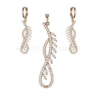 Golden Plated Brass Rhinestone Dangle Earrings &Pendant Sets, Infinity, Crystal, 51x11x4mm; 43mm; Pin: 1mm(SJEW-L191-01A)