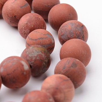 Frosted Round Natural Red Jasper Bead Strands, 10mm, hole: 1mm; about 38~39pcs/strand, 15inches(G-J346-22-10mm)