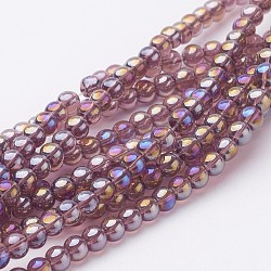 Glass Bead Strands, Round, AB Color Plated, MediumPurple, 8mm, Hole: 1mm; about 42pcs/strand, 14inches(X-GR8mm-03Y-AB)