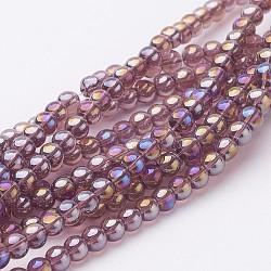 billes de verre brins, arrondir, ab couleur plaquée, Mediumpurple, 8 mm, trou: 1 mm; environ 42 perle / brin, 14(X-GR8mm-03Y-AB)