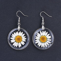 boucles d'oreilles pendantes de fleurs séchées en résine d'alliage, en laiton de tonalité de platine boucles d'oreilles crochets, effacer, 57 mm; broches: 0.7 mm(X-EJEW-JE03142)