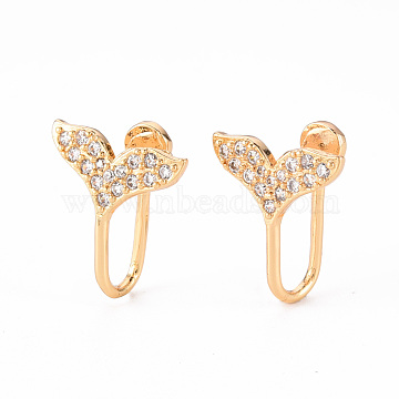 Brass Micro Pave Clear Cubic Zirconia Cuff Earrings, Whale Tail Shape, Nickel Free, Real 18K Gold Plated, 16x13x1.5mm(EJEW-Q703-002-NF)