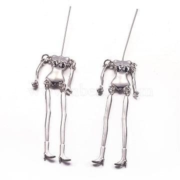 Tibetan Style Alloy Human Body Skeleton For DIY Toy Doll Making, Cadmium Free & Nickel Free & Lead Free, Platinum, 115x18x6mm; pin: 40mm long, 0.8mm(TIBE-39030A-P-NR)