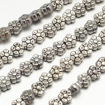 Tibetan Style Flower Alloy Bead Strands, Lead Free & Cadmium Free & Nickel Free, Antique Silver, 5.2mm, Hole: 1.5mm; about 42pcs/strand, 8 inches(X-TIBEB-O007-01-NR)