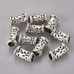 perles de tube en alliage de zinc de style tibétain, argent antique, 15x8x8 mm, trou: 5 mm(X-TIBEB-R061-007)