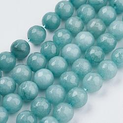 """Chapelets de perles de jade naturel, teint, facette, rond, paleturquoise, 8 mm; trou: 1 mm; environ 48 pcs / brin, 14.9""""(X-G-R166-8mm-20)"""