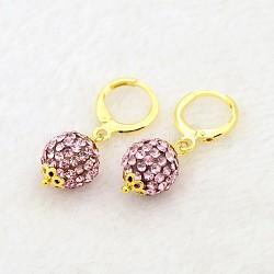 Pendantes rondes résine de balle boucles d'oreilles strass, avec boucles d'oreilles créoles en laiton doré, rose clair, 30mm, pin: 1 mm(EJEW-J080-27G)