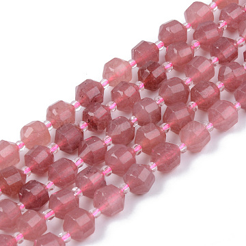 Natural Chalcedony Beads Strands, Imitation Strawberry Quartz, Round, Faceted, Dyed & Heated, 7~8x8mm, Hole: 1.2mm; about 38~40pcs/strand, 15.16inches(38.5cm)(G-R482-29-8mm)