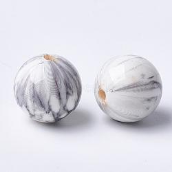 Perles acryliques imprimées, rond, gris clair, 14x13.5mm, Trou: 2.5mm(MACR-T024-46)