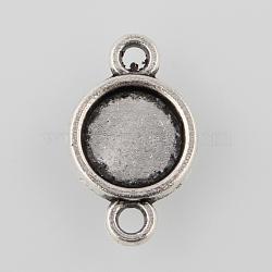 Настройки разъем сплава кабошон тибетском стиле, чашки безель с краем, плоские круглые, Старинное серебро, лоток: 8 мм; 17x11x2 мм, отверстия: 2 mm(X-TIBE-M022-12AS)