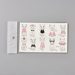 Faux tatouages temporaires amovibles, imperméable, autocollants papier de dessin animé, chat, colorées, 120~121.5x75mm(AJEW-WH0061-B07)