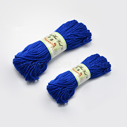 Knitting Baby Yarns, with Wool and Velvet, Blue, 4mm; about 100g/roll: 4rolls; 50g/roll: 2rolls, 6rolls/bag(YCOR-R026-928)