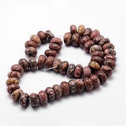 Perles de jaspe en peau de léopard naturelle, rondelle, 14x7mm, Trou: 4.5~5mm(G-K139-03)