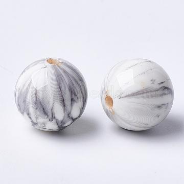 Printed Acrylic Beads, Round, LightGrey, 14x13.5mm, Hole: 2.5mm(MACR-T024-46)