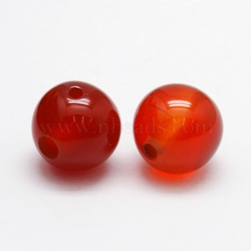 3-Hole Dyed Natural Red Agate Round Beads, T-Drilled Beads, 8mm, Hole: 1mm(X-G-N0012-6mm-18)