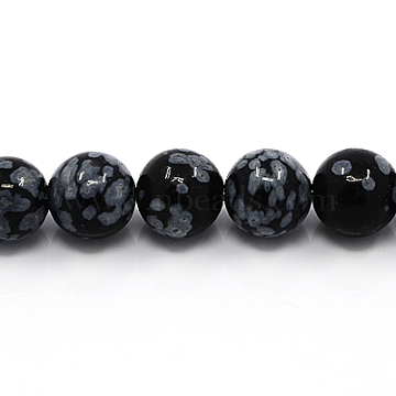 Natural Snowflake Obsidian Beads Strands, Round, 12mm, Hole: 1mm(G-G515-12mm-01)