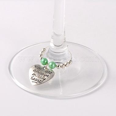 coeur de style tibétain avec le mot que vous êtes toujours dans mes vins de coeur charmes de verre(AJEW-JO00028-03)-2