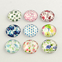 Half Round/Dome Floral Pattern Glass Flatback Cabochons for DIY Projects, FloralColor, 12x4mm