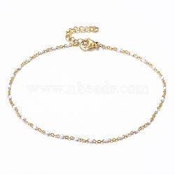 304 bracelets de cheville en acier inoxydable, avec des liens en émail, or, blanc, 9 (23 cm); 1.5~2 mm(X-AJEW-H010-01E)